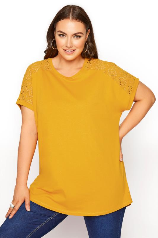 Plus Size  Mustard Yellow Broderie Anglaise Shoulder T-Shirt