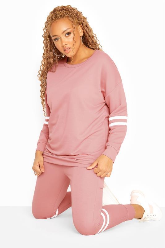 Pink Varsity Stripes Sweatshirt