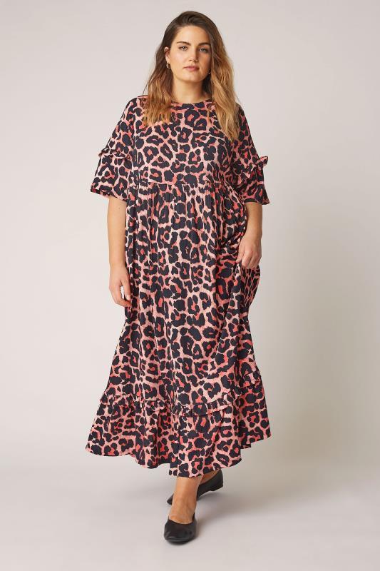 THE LIMITED EDIT Pink Leopard Print Smock Midaxi Dress_B.jpg