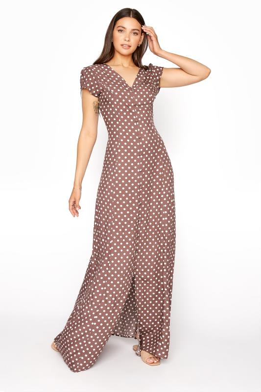 Tall  LTS Brown Spot Print Button Down Maxi Dress