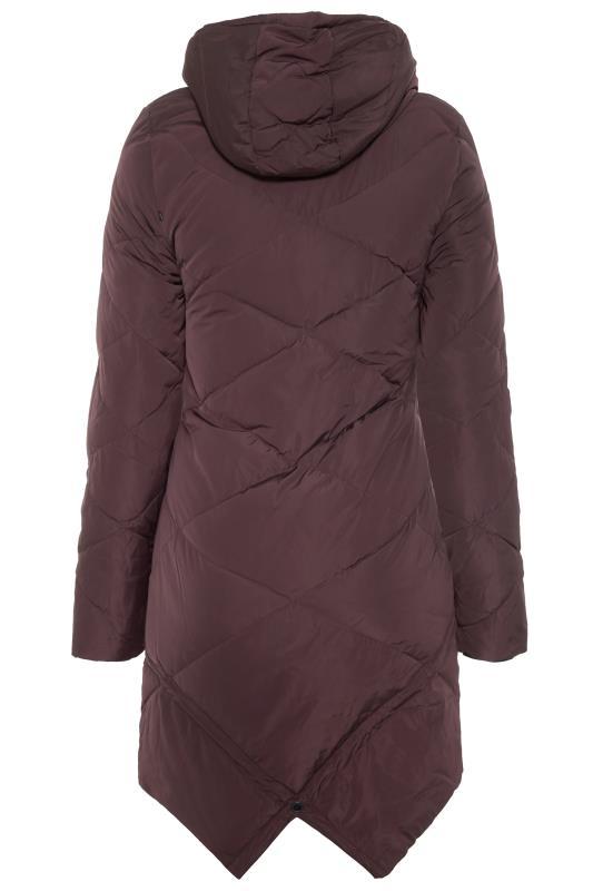 Dark Purple Down Filled Diamond Quilt Coat
