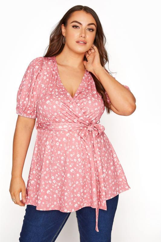 Großen Größen  YOURS LONDON Pink Ditsy Puff Sleeve Wrap Top