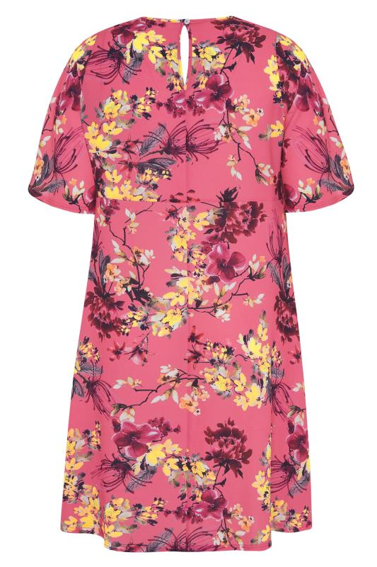 YOURS LONDON Pink Floral Oriental Dress_BK.jpg