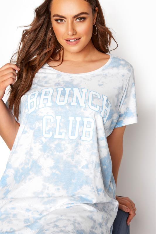 Light Blue Tie Dye Varsity 'Brunch' Dipped Hem Nightdress_D.jpg