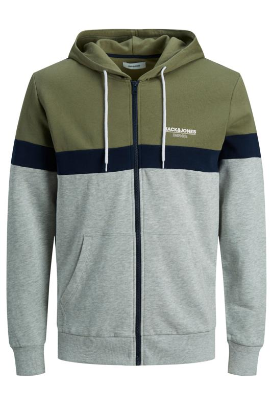 Men's Hoodies JACK & JONES Grey & Khaki Shaker Colour Block Zip Hoodie