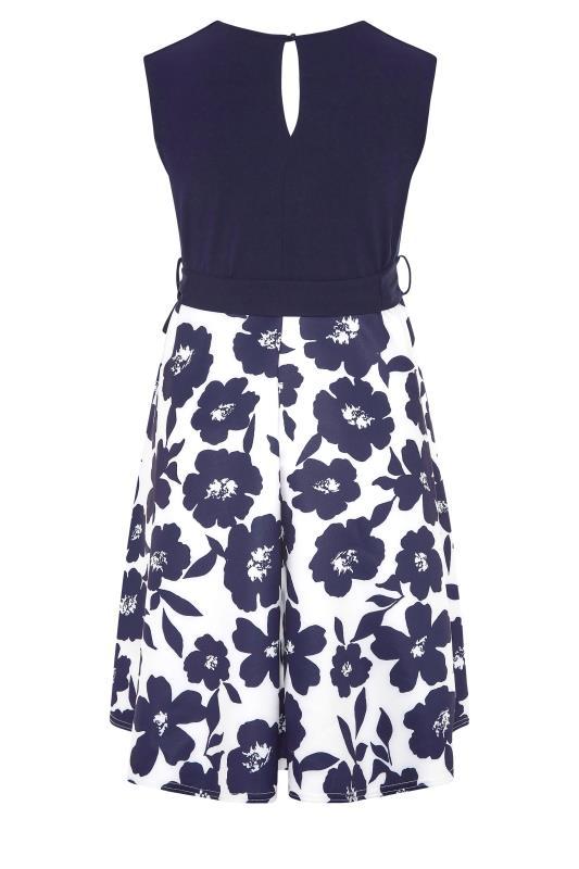 YOURS LONDON Navy Floral Square Neck Dress_BK.jpg