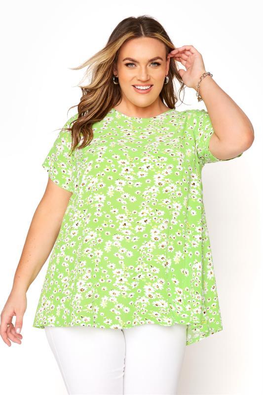 Großen Größen  LIMITED COLLECTION Lime Green Daisy Swing Top