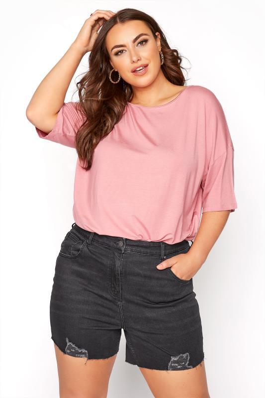 Plus Size  Black Cut Off Distressed Denim Shorts