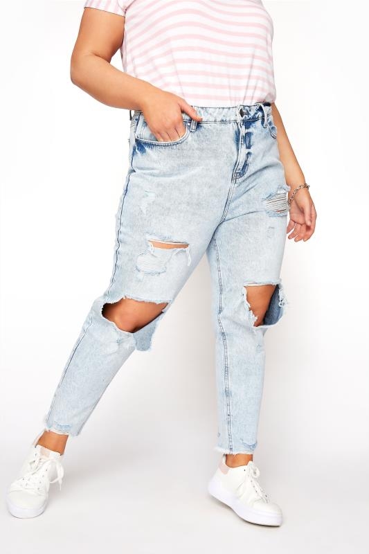 Plus Size  Bleach Blue Destroyed MOM Jeans