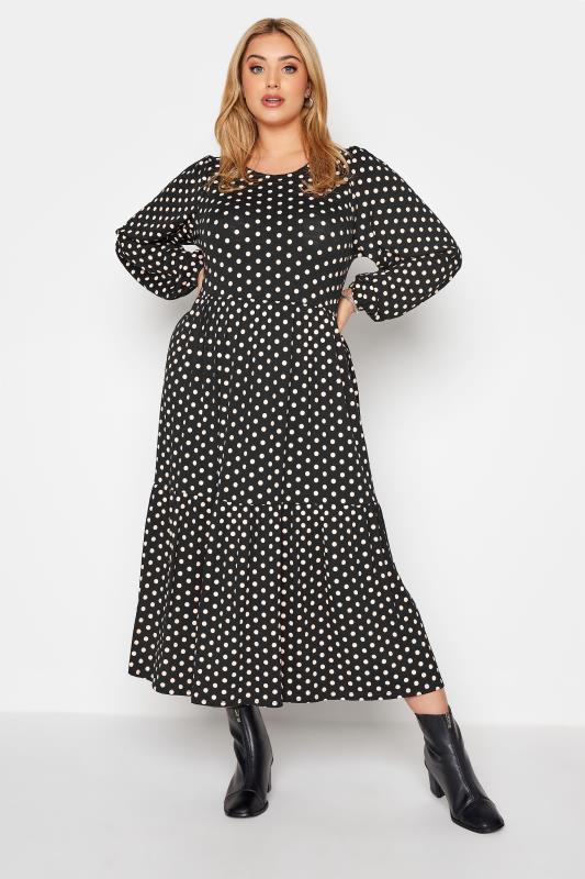 Plus Size  Black Polka Dot Tiered Midaxi Dress