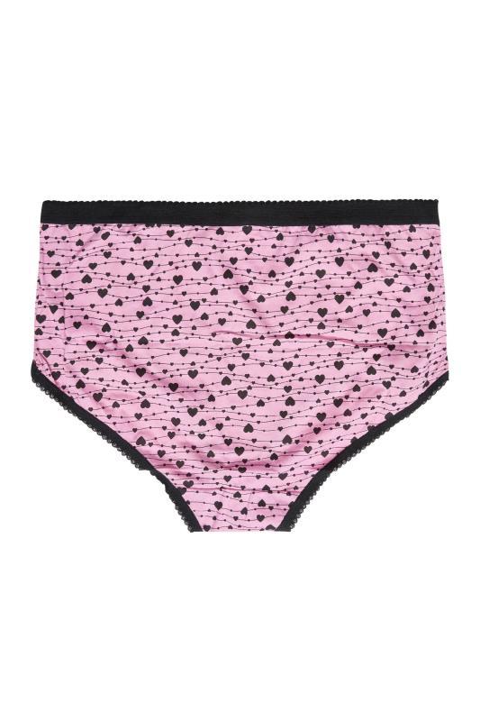 5 PACK Pink & Black Heart Print Full Briefs_G.jpg
