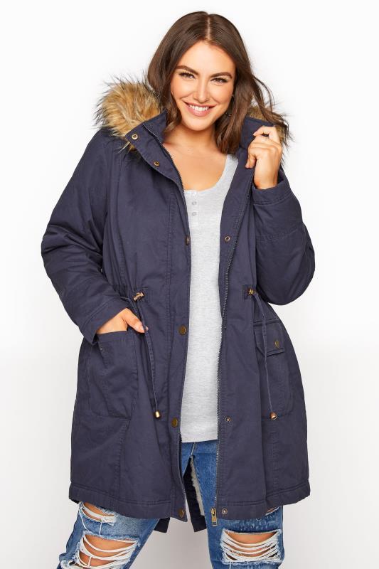 Plus Size  Navy Faux Fur Trim Hooded Parka
