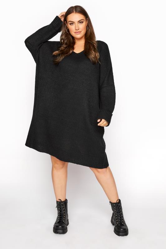 Black Drop Sleeve Knitted Jumper Dress_E.jpg