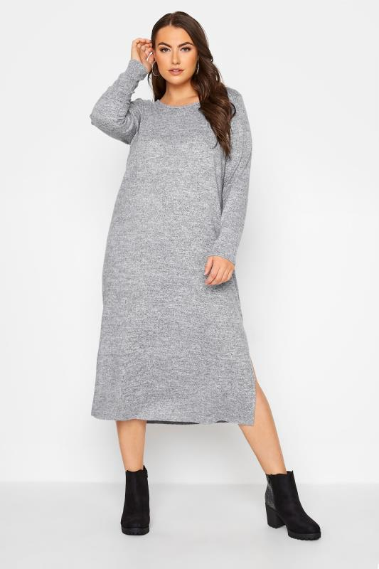 Plus Size  Grey Knitted Jumper Dress