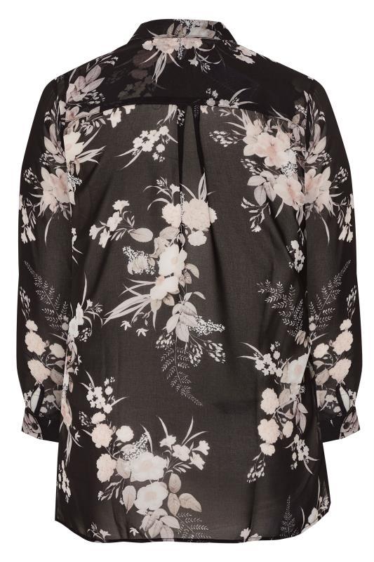 YOURS LONDON Black Floral Chiffon Shirt