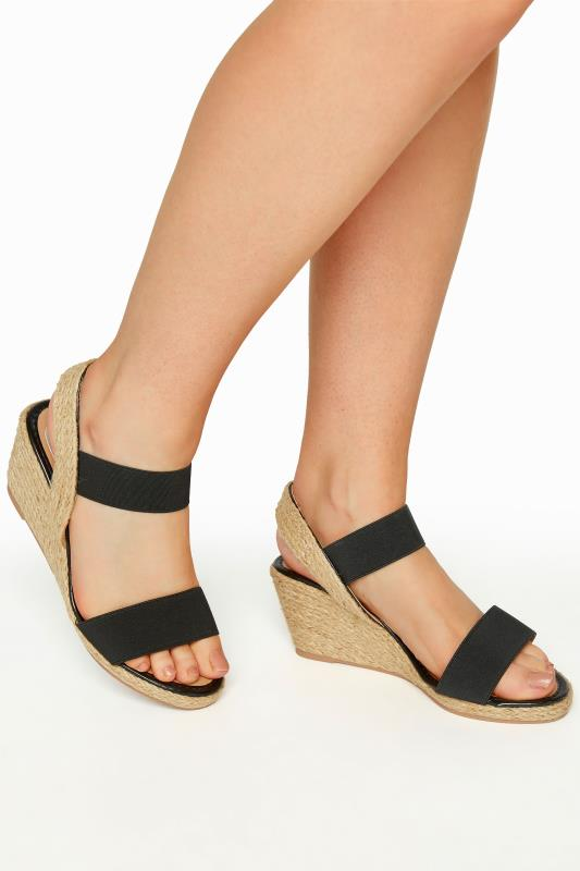 Plus Size  Black Espadrille Wedge Sandals in Wide Fit