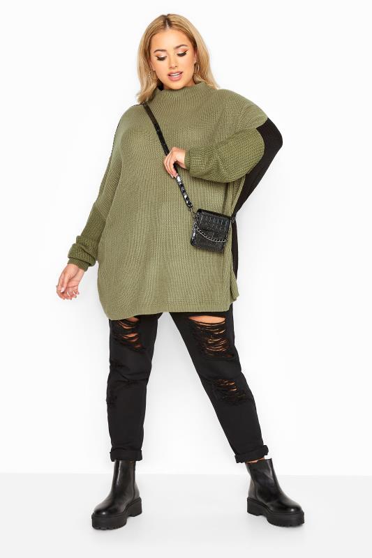 Khaki Colour Block Oversized Knitted Jumper_B.jpg