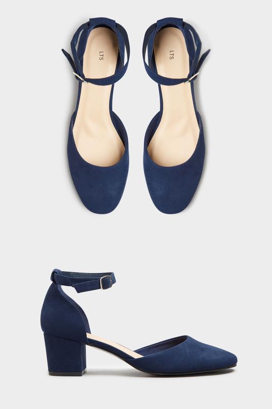 Tall  LTS Navy Block Heel Court Shoes