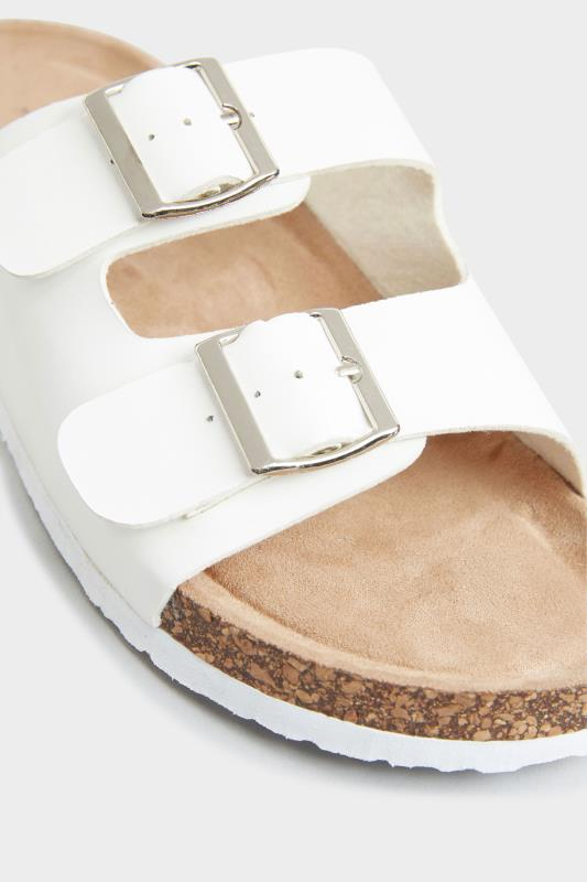 White Buckle Strap Footbed Sandals In Extra Wide Fit_D.jpg