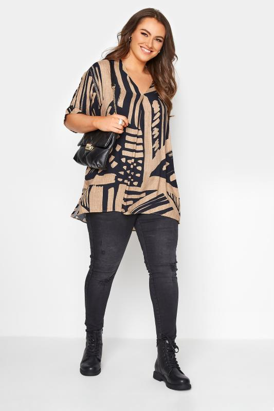 Mocha Brown Abstract V-Neck Pleated Front Shirt_B.jpg