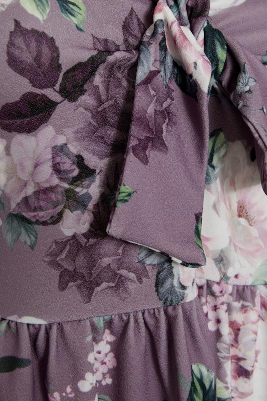 YOURS LONDON Lilac Floral Bow Front Dress_S.jpg