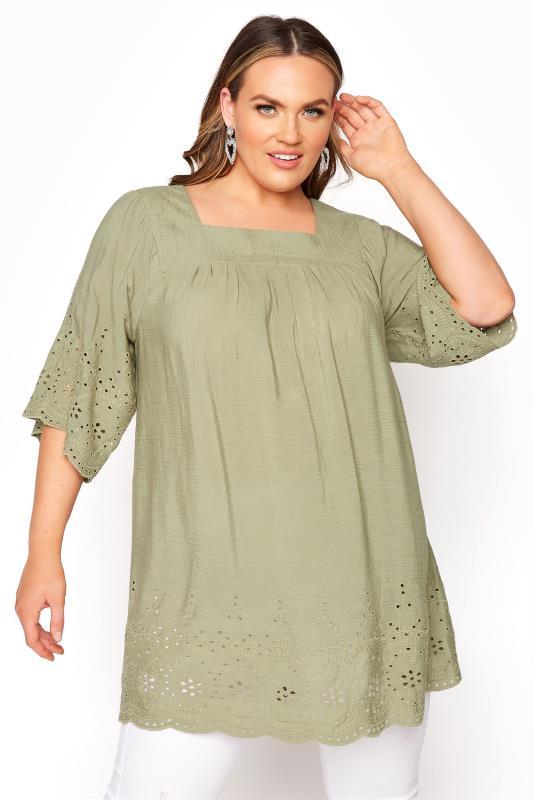 Plus Size  Khaki Broderie Anglaise Milkmaid Top