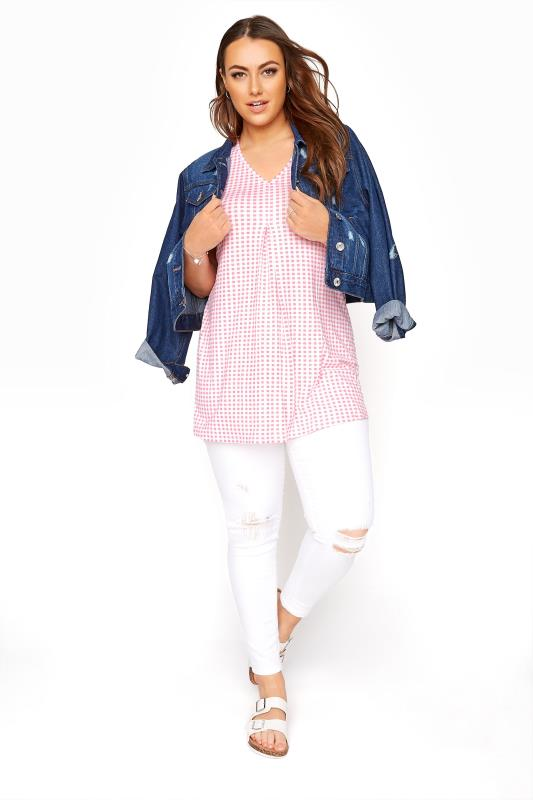 Pink Gingham Swing Vest Top