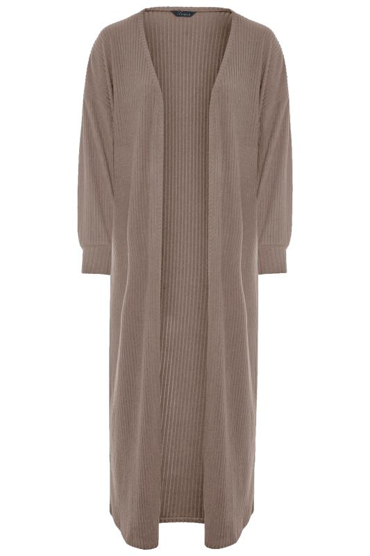 LIMITED COLLECTION Mocha Ribbed Long Cardigan_F.jpg