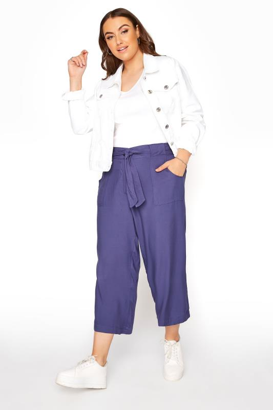 Plus Size  Blue Belted Cropped Trousers