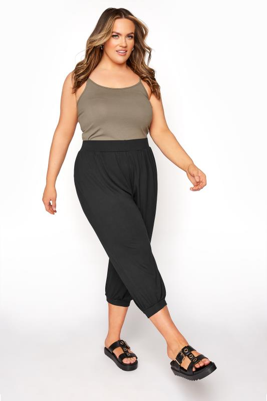 Plus Size  Black Jersey Harem Cropped Trousers