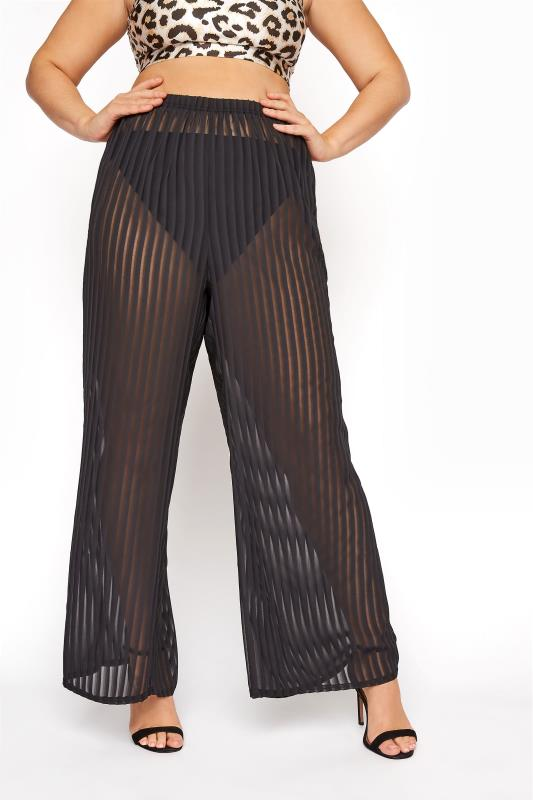 LIMITED COLLECTION  Black Shadow Stripe Cover Up Trouser