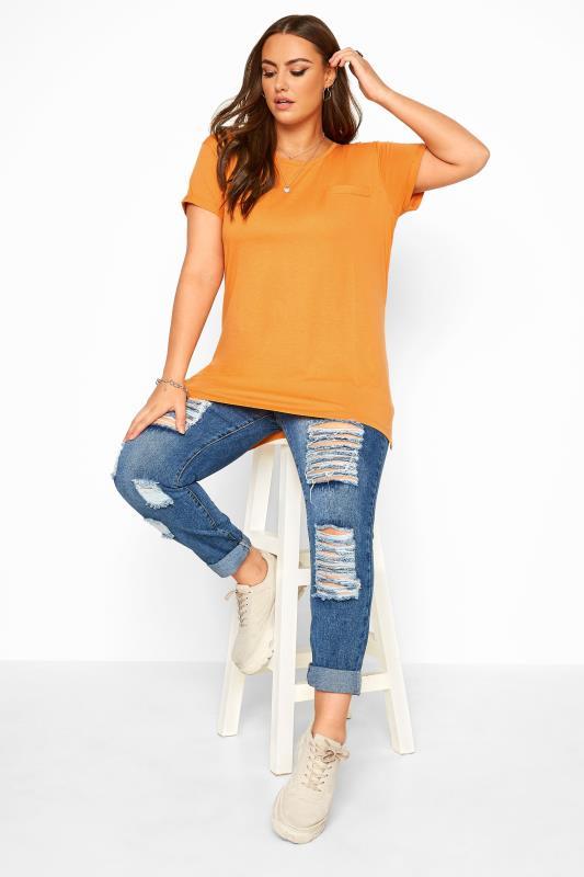 Orange Mock Pocket Dipped Hem T-Shirt
