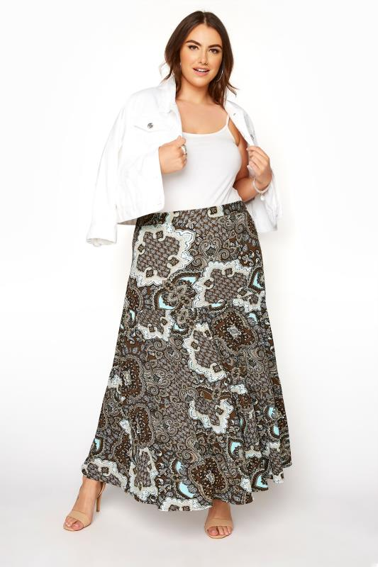 Großen Größen  YOURS LONDON Brown Paisley Tiered Maxi Skirt