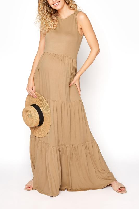 LTS Maternity Camel Tiered Maxi Dress_B.jpg