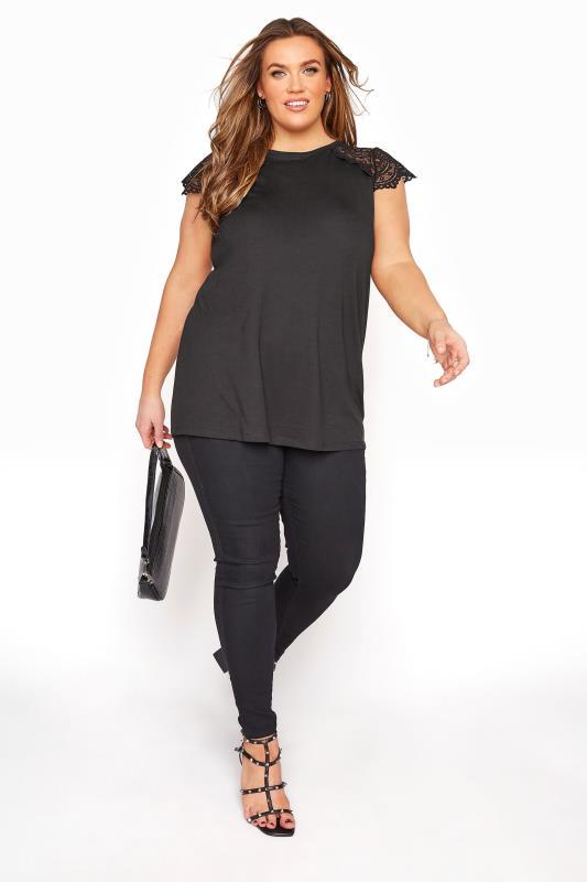 Black Lace Cap Sleeve Top