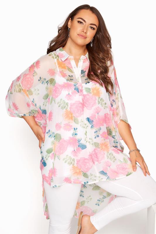 Plus Size  White Floral Batwing Shirt