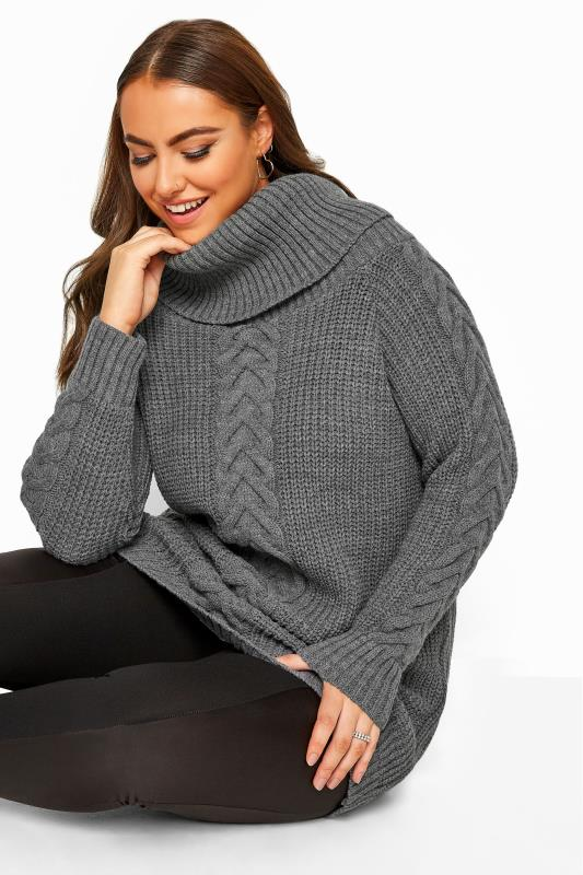 Charcoal Grey Cable Knit Longline Jumper
