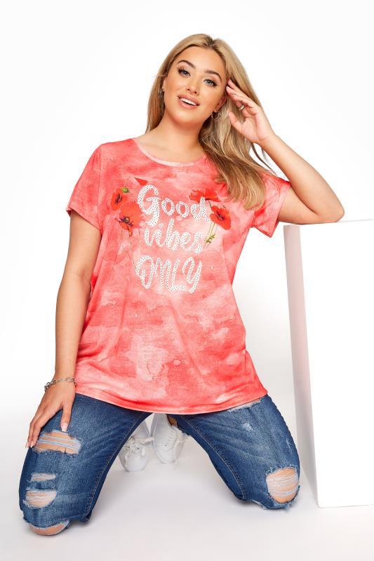 Großen Größen  Coral 'Good Vibes Only' Slogan T-Shirt