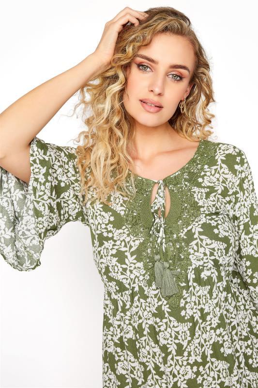 LTS Khaki Floral Crochet Tie Front Tunic_D.jpg