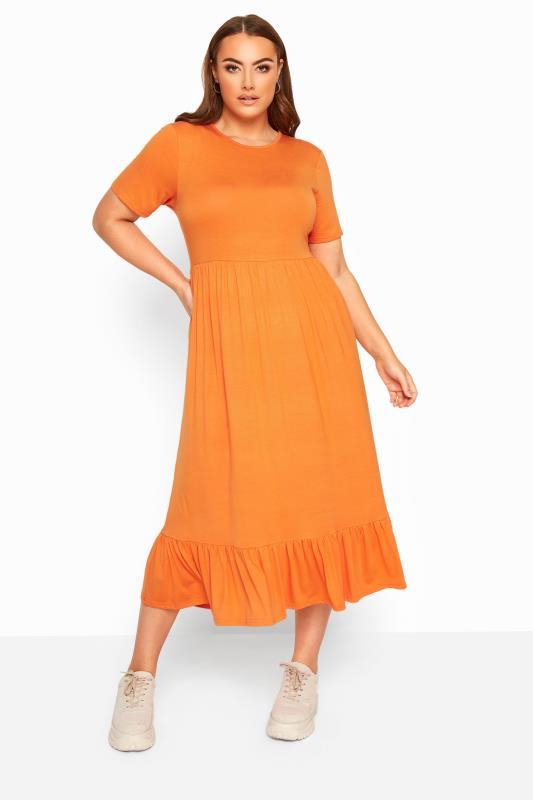 Plus-Größen Maxi Dresses LIMITED COLLECTION Orange Tiered Maxi Smock Dress