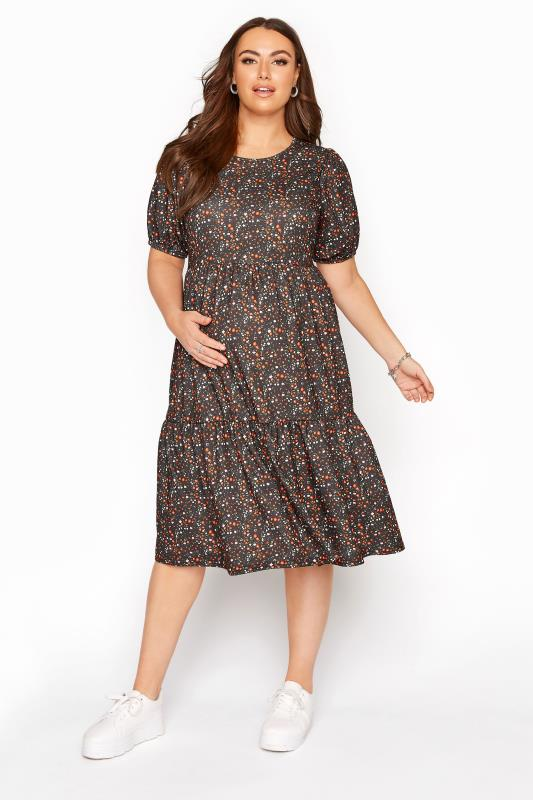 Plus Size  BUMP IT UP MATERNITY Black Floral Tiered Smock Dress