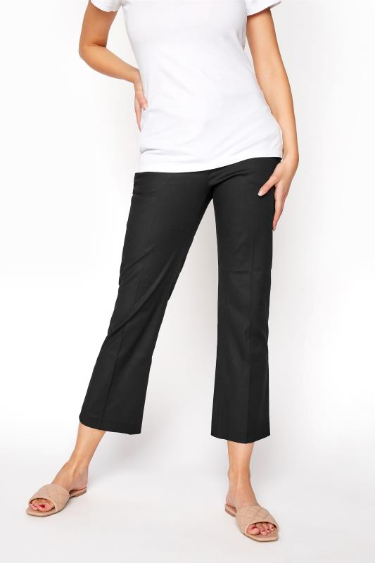 Black Smart Cotton Sateen Ankle Grazer Trouser