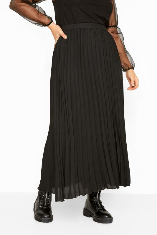 YOURS LONDON Black Chiffon Pleated Maxi Skirt