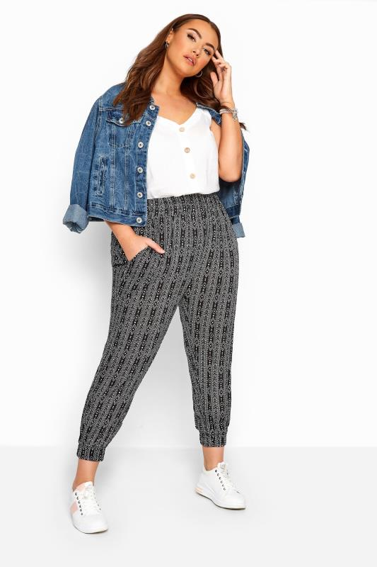 Plus Size Harem Trousers Black Tribal Stripe Crinkle Harem Trousers