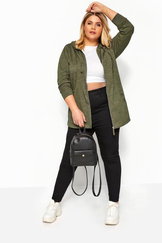 Plus-Größen Sweatshirts & Hoodies Khaki Marl Zip Through Hoodie