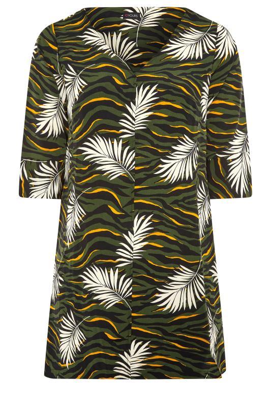 Khaki Tropical V-Neck Shift Dress_F.jpg