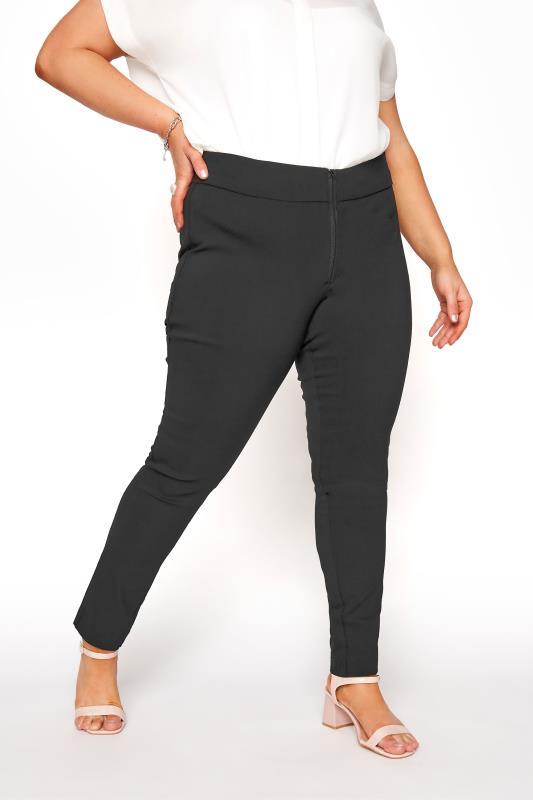 Plus Size  Black Bengaline Stretch Trousers