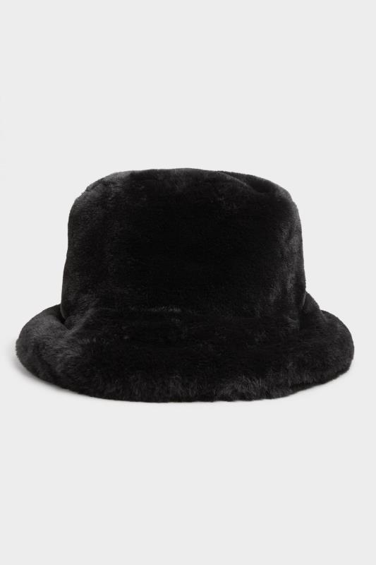 Black Vegan Fur Bucket Hat