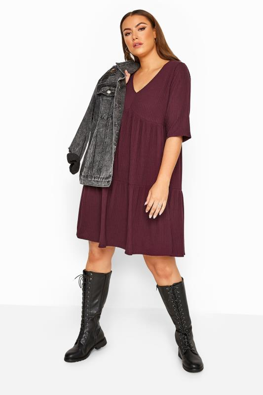Plus Size Black Dresses LIMITED COLLECTION Plum Ribbed Tiered Smock Dress