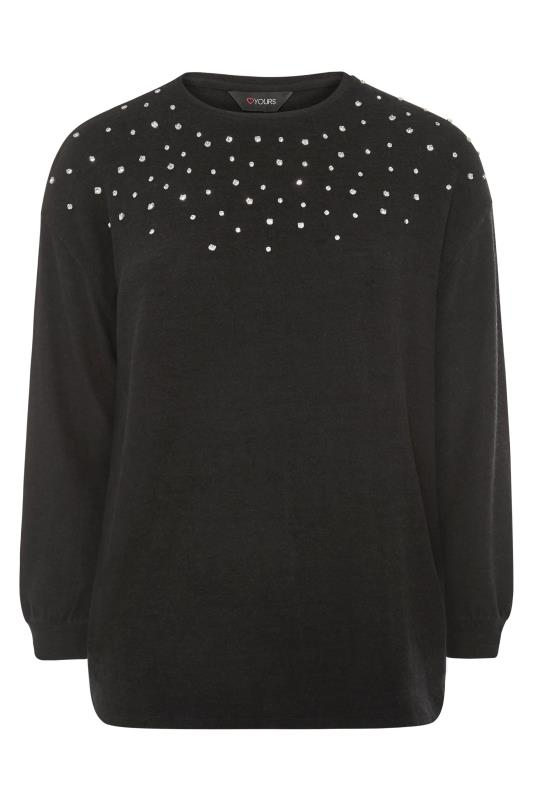 Black Diamante Soft Knitted Jumper